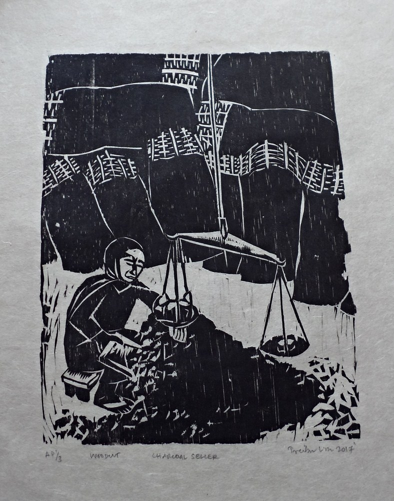 "Treibor Mawlong | Charcoal Seller | Woodcut print | 8.25"" x 6.75"" | 2017"