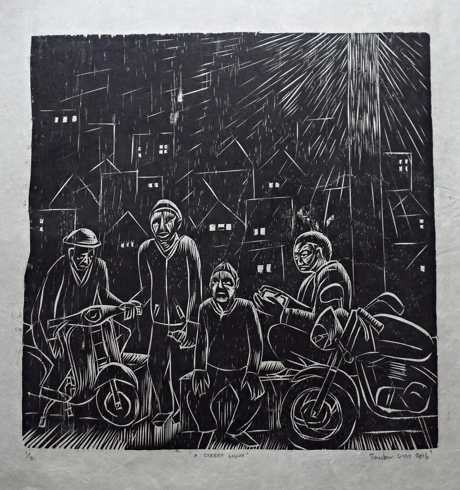 "Treibor Mawlong | A Street Light | Woodcut print | 10"" x 9.75"" | 2016"