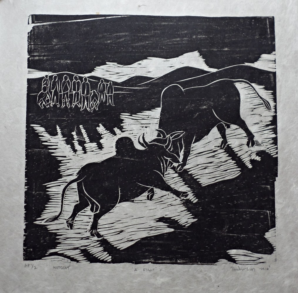 "Treibor Mawlong | A Fight | Woodcut print | 10"" x 9.75"" | 2016"