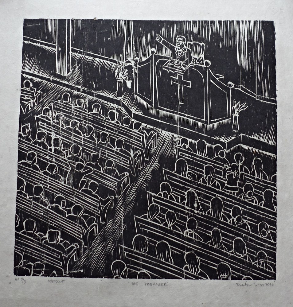 "Treibor Mawlong | The Preacher | Woodcut print | 10"" x 9.75"" | 2016"