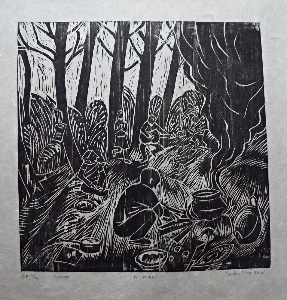 "Treibor Mawlong | A Picnic | Woodcut print | 10"" x 9.75"" | 2016"