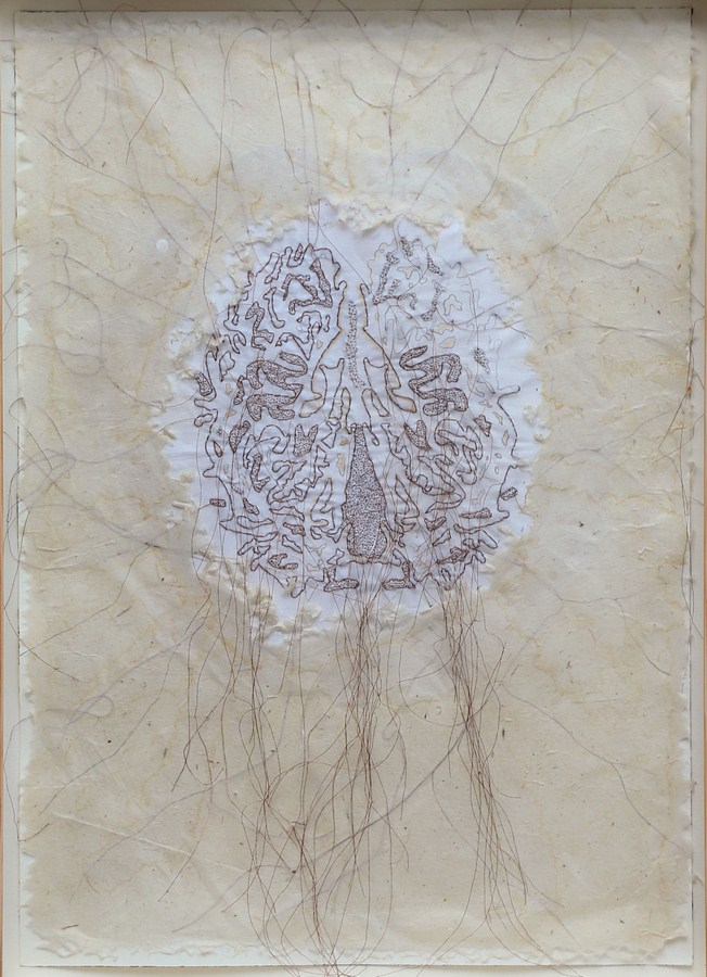 "Pranati Panda | Untitled | Watercolour thread and rice paper | 20"" x 14"" | 2018"