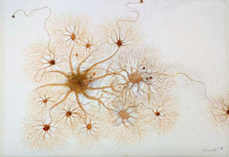 "Pranati Panda | Organism - 1 | Watercolour thread and rice paper | 8.5"" x 11.5"" | 2018"
