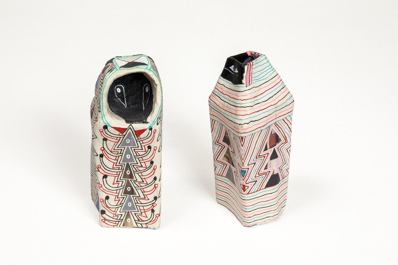 "Swiss Trash (Voodoo & Egyptology) | Paper trash, collage, pen | 2.1"" x 2.1"" x 5"" & 2"" x 2.2"" x 5.5""  | 2017"