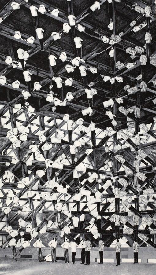 "Foundational Political Myth Bodies | Oil On canvas | 96"" x 54"" | 2018"