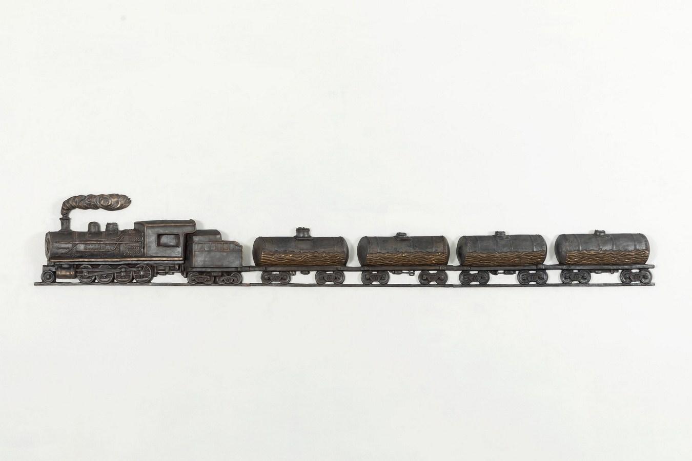 "Train | Bronze | 13"" x 80.5"" x 2.5"" | 2018"