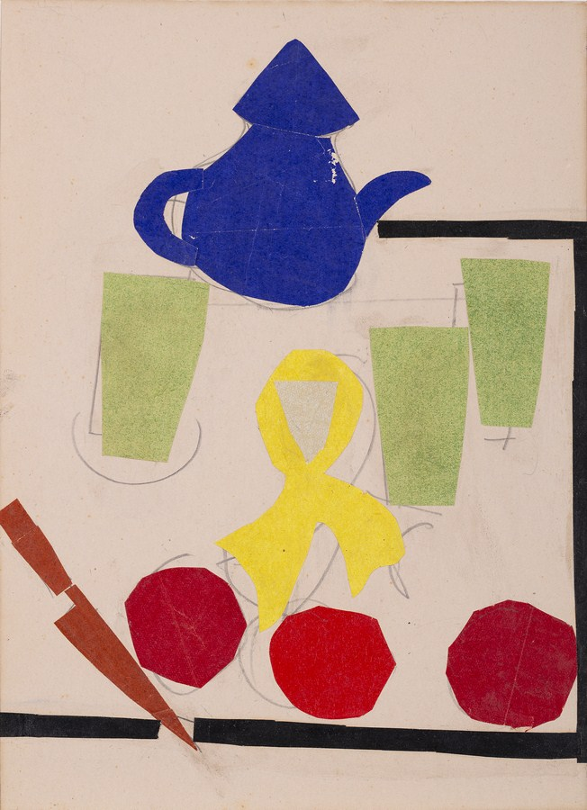 """Still life with - paper collage Kettle 