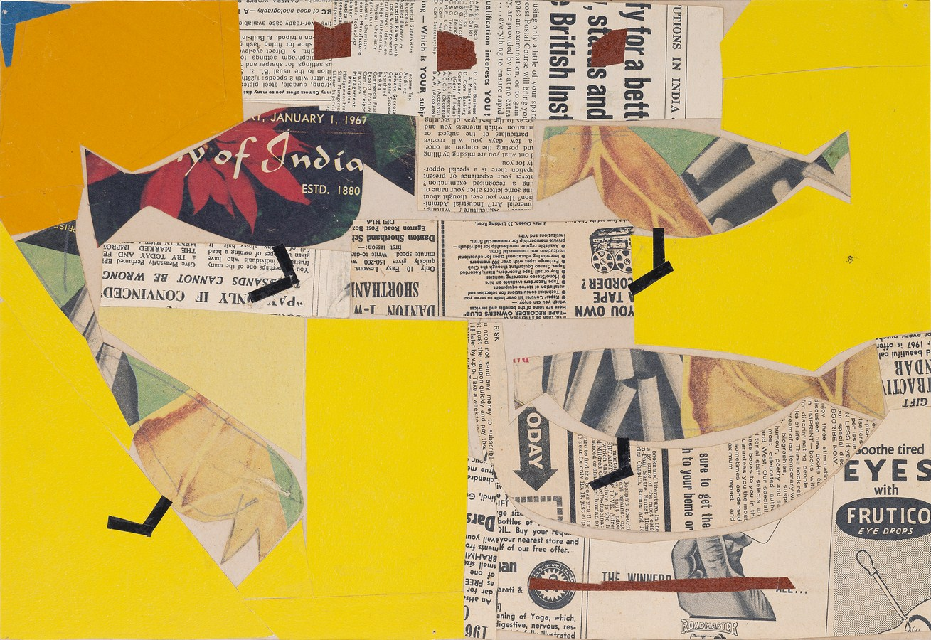 """Shantiniketan - Paper collage with Birds 