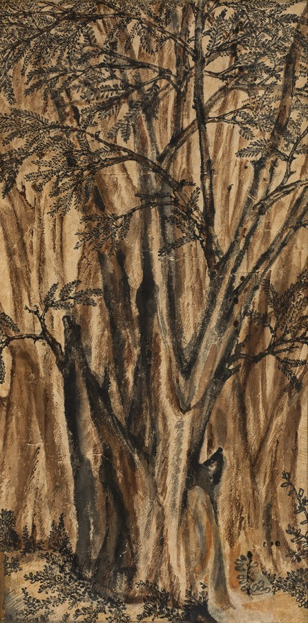 "Amloki Trees | Tempera on paper | 27"" x 13.5"" | 1937"