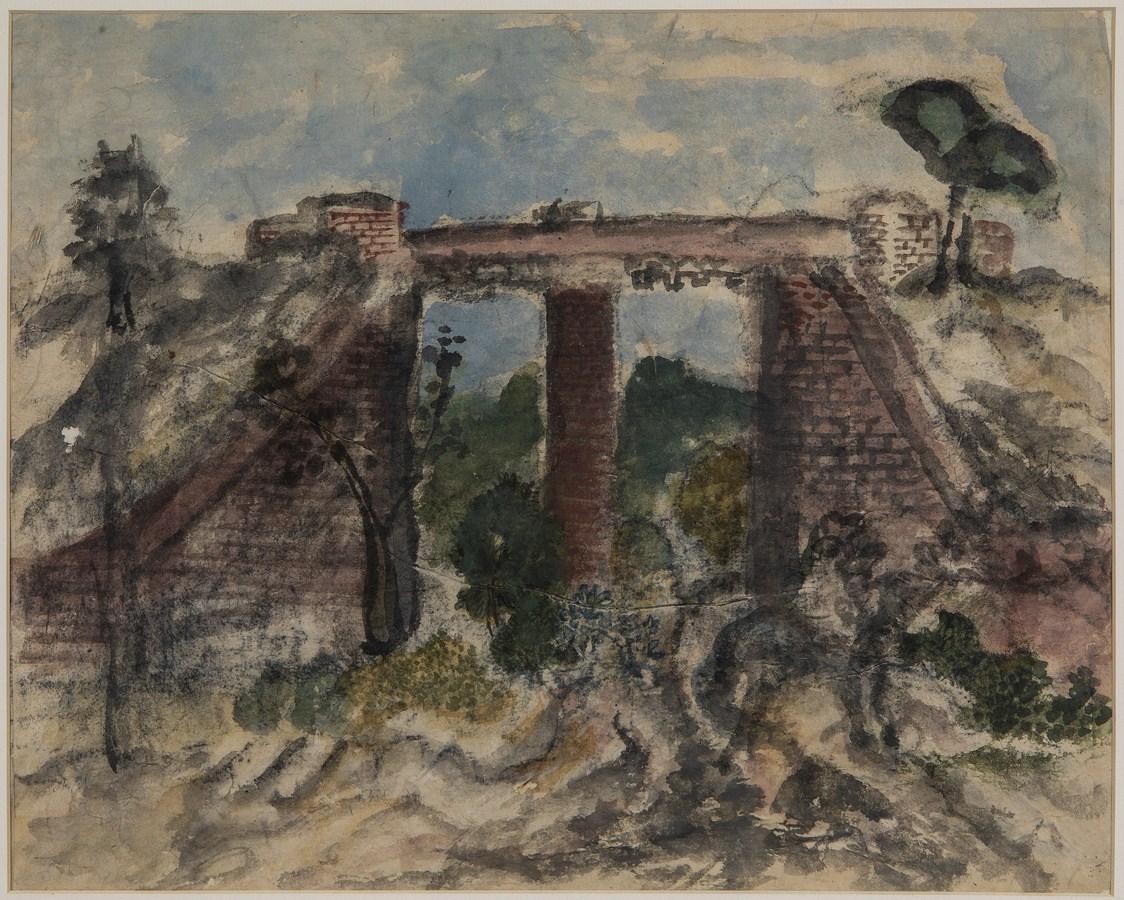 "Study for The Bridge | Watercolour on paper | 12.5"" x 16"" | 1932"