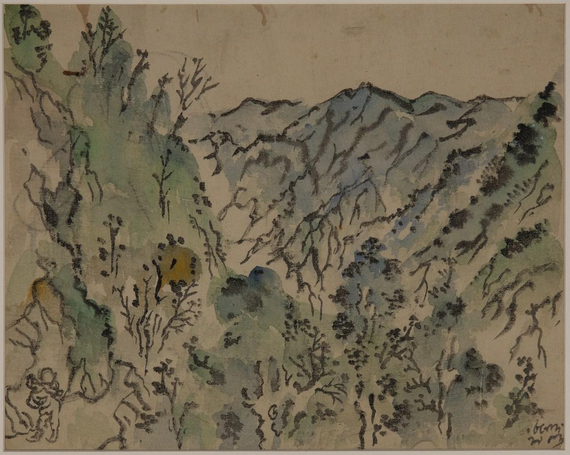 "Mussoorie Landscape | Watercolour on cloth | 12.5"" x 15.5"" | 1953"