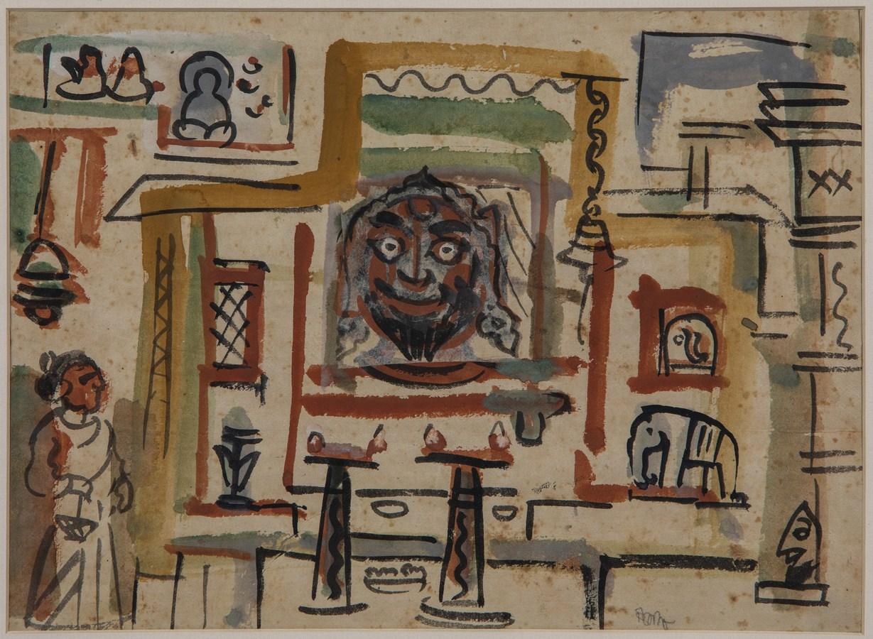 "Patna Subject Nepal | Temper on paper | 9.25"" x 12.5"" | 1956"