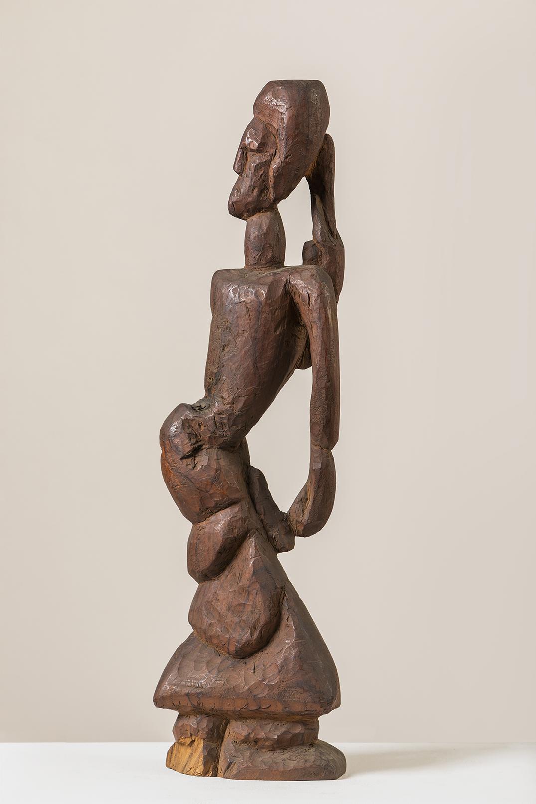 "Untitled | Wooden sculpture | 19.5"" x 5.5"" x 2.5"""