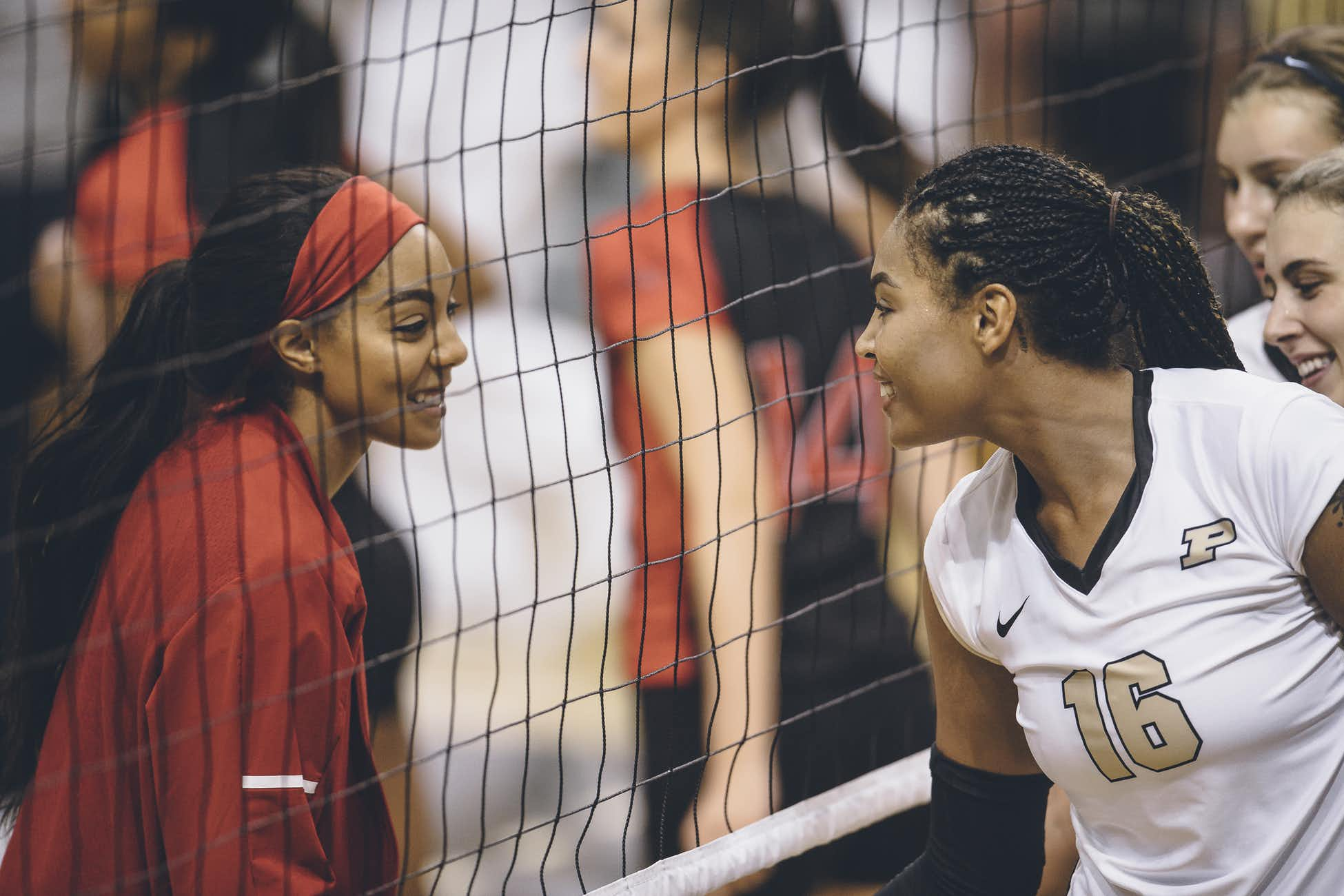 Atkinson and (I think) MB Jasmine Bennett in the pre-match handshake line - Bennett held her own, but Atkinson's Boilers won the match