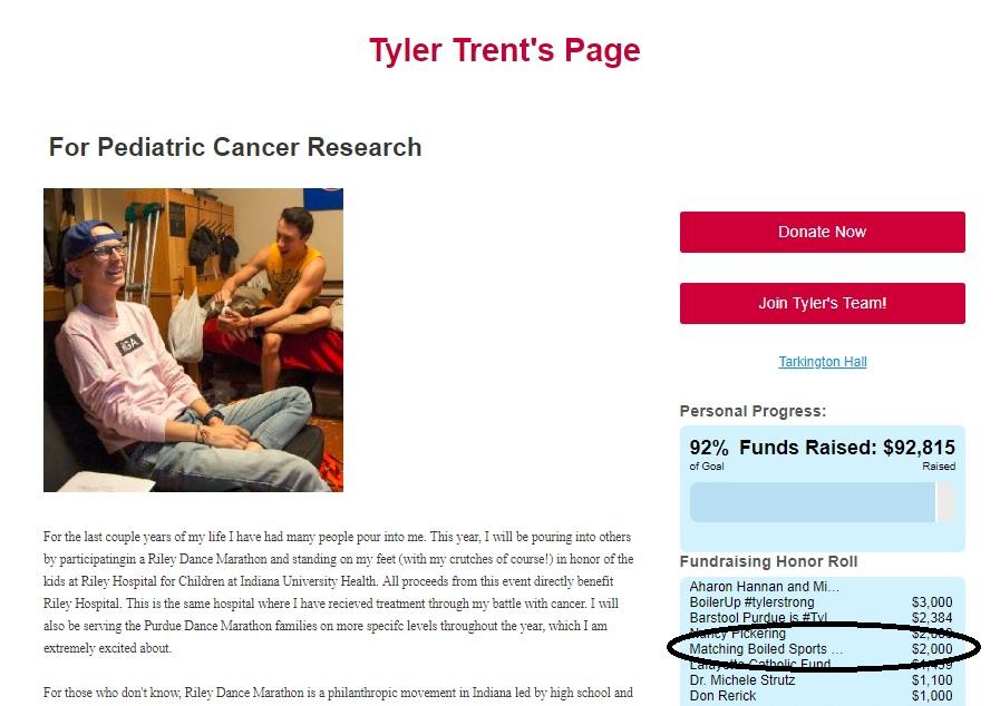 Matching BS donation to Tyler Trent dance marathon page.jpg