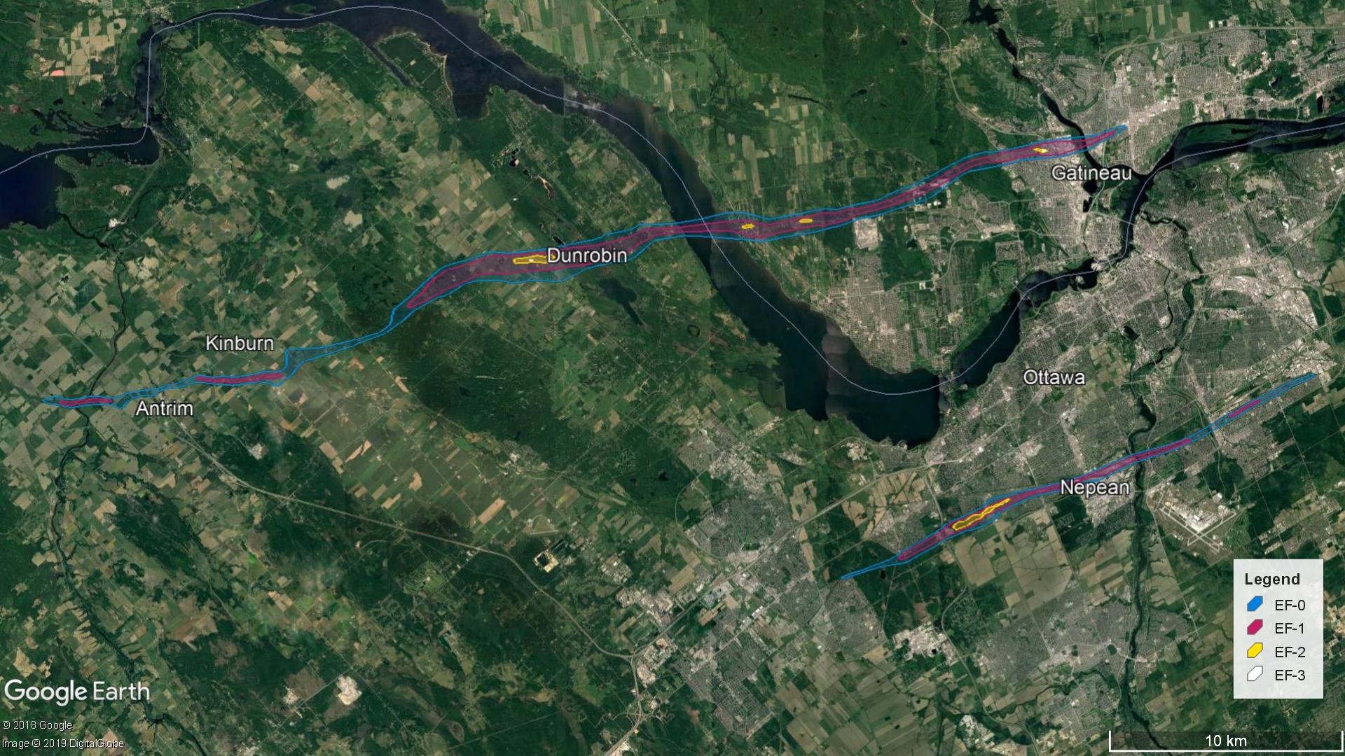 Parcours des tornades à Gatineau et Ottawa.