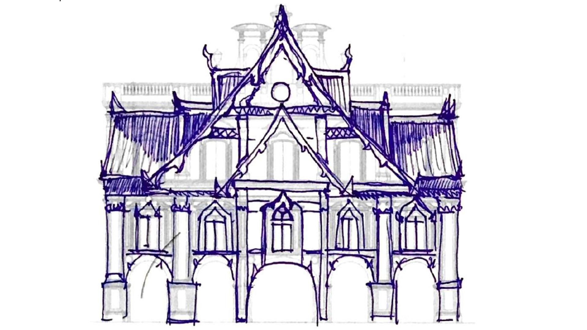 ภาพสเก็ต วัดเบญจมบพิตรเทียบกับ อาคารหน้าพลาซามายอร์