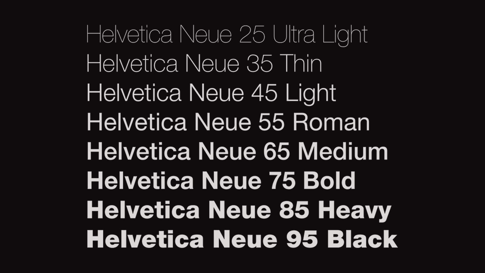 Helvetica Neue ถูกออกแบบให้มีหลายน้ำหนักตั้งแต่บางมาก ไปจนถึงหน้ามาก เพื่อการใช้งานในรูปแบบต่าง ๆ
