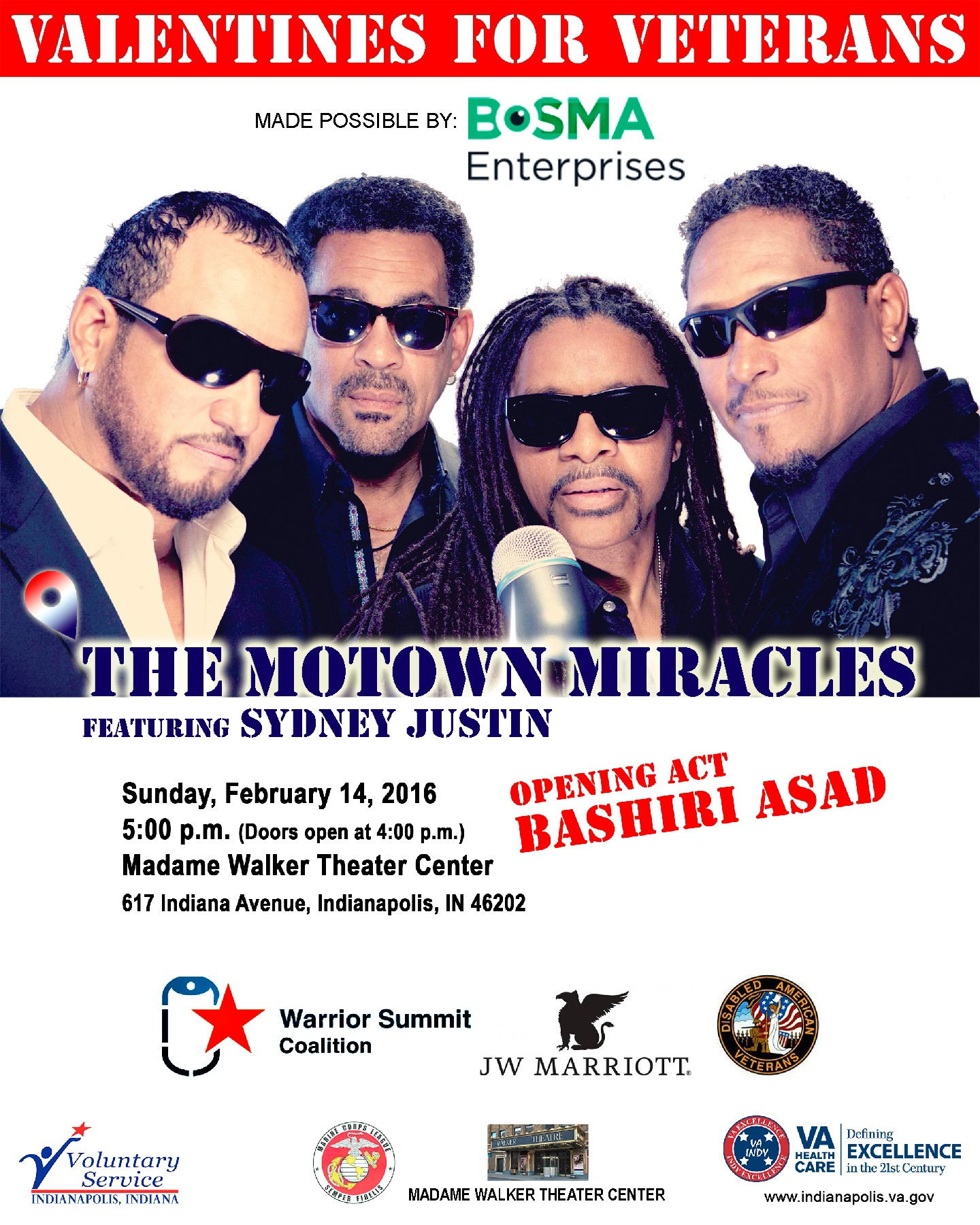 Valentines For Veterans, Miracles for Heroes Concert- The Motown Miracles Featuring Sydney Justin