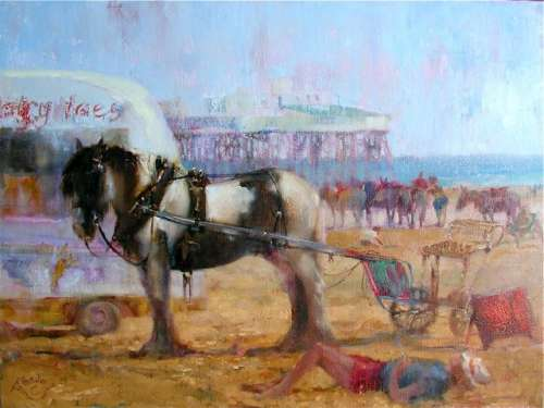 Blackpool Beach 2005 Oil 18x24 inches