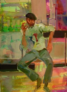 My beloved mentor, Dick Turner, in his studio smoking a cigarette. KINDLY OLD TEACHER. 18 x 14 acrylic on canvas. November, 2008.