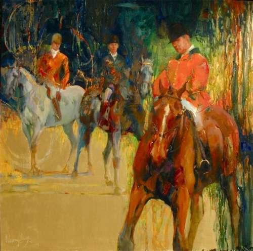 TRINITY 36x36 oil on gold canvas