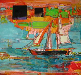 A beautiful boat sailed by in Key West. This was a rapid little painting. I abstracted the landscape I saw on the island beyond.