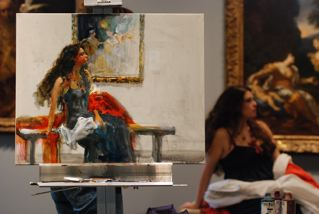 After a further 40 mins., the painting was completed to this point, and the demonstration over...