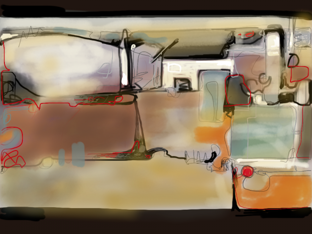 iPhone art by Lesley Humphrey - Brushes app - Waiting at Oklahoma Gas Station