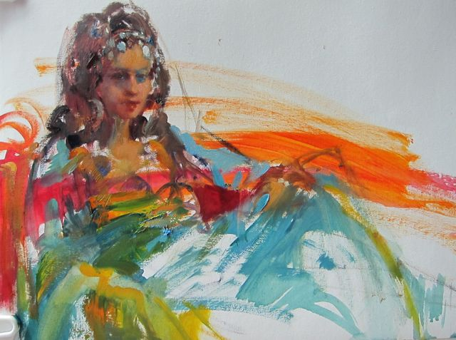 """Belly Dancer.1 14 x 18"""" oil on canvas."""