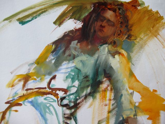 Belly Dancer.3 : 20 minute oil sketch on canvas by Lesley HumphreyBelly dancer, detail...It's the expression, rather than the likeness that interests me most, these days.