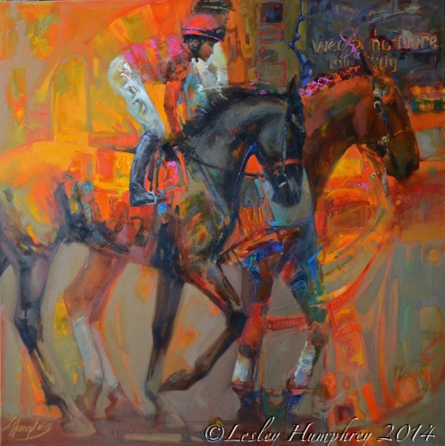 """THE ROSE IN THE ARENA"" 48 x 48″ oil on canvas by Lesley Humphrey. Copyright 2014. Available at The Sporting Art Auction, Keeneland, Lexington, Kentucky November 15th, 2014. http://www.thesportingartauction.com"