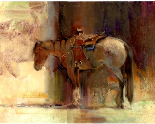 Rode Hard, Put Up Wet by Lesley Humphrey. 40 minutes, oil on panel. Kentucky Horse Park, after a roping competition.
