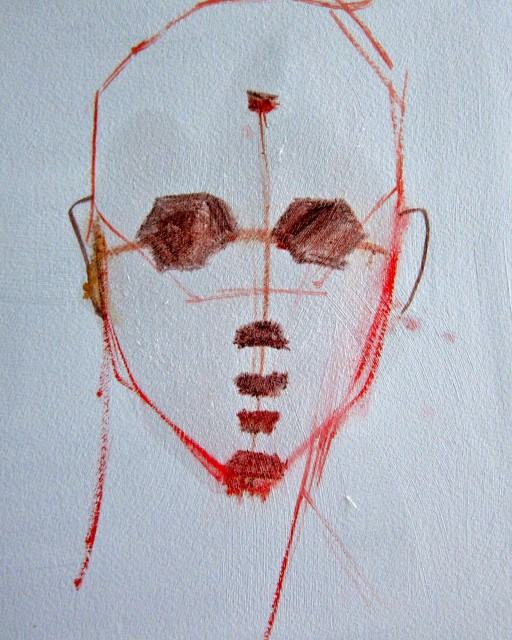 """Landmarks For Shapes: Eye socket shapes are inserted between the eye line marks; Upon the nose bottom mark there is a trapezoid; upon the lip opening mark paint a """"bean"""" for the lip pusher muscle shape; on the dental arch mark there is another trapezoid shape; and on the chin mark there is another trapezoid shape."""