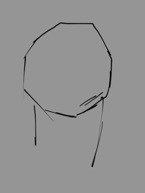 I've chosen a neutral gray base color, as I did in the painting demo. This will enable you to better evaluate the correct values to use to create forms. Sketch the neck post and skull ball in a linear manner.
