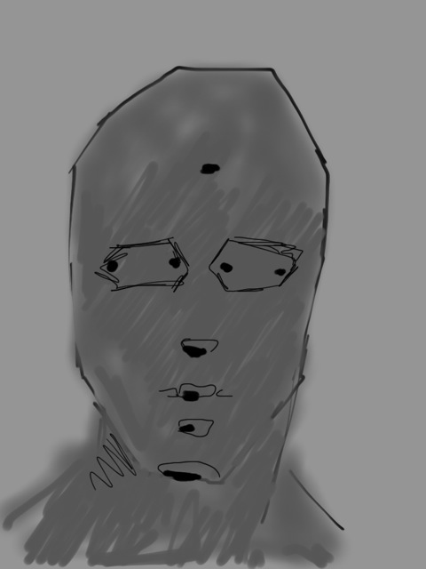 Using line, draw eye-socket shapes. Notice the hexagon shape we had for the female is now flattened for the male. Added nose shadow shape, lip pusher muscle shape, dental arch shape and chin bottom shape.