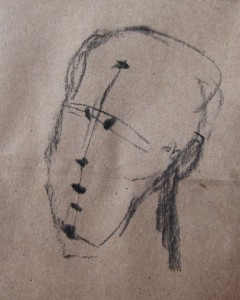 Using charcoal or pencil, draw skull ball, neck post, jaw wedge, lines and landmarks for shadow planes