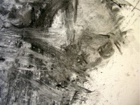 Powdered charcoal applied with water, brushes & rags