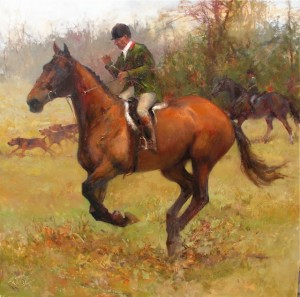 The Huntsman, by Lesley Humphrey. 36 x 36 oil on canvas. I used to hunt with this gentleman. I painted this from a photograph.