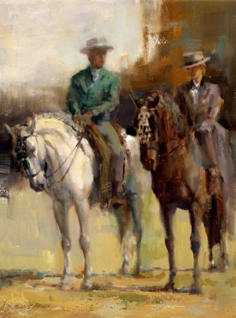 Sam & Marta. 14 x 11 oil on panel by Lesley Humphrey. Master riders of their magnificent Pura Rasa Espanol horses (Andalusian), Sam and Marta (father and daughter) used to ride in the Houston Rodeo Parade. I was fortunate enough to be able to meet them prior to the parade, whilst they were waiting.