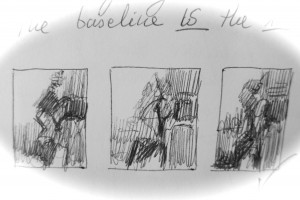 Thumbnail sketches, of a jazz musician's shapes. (I selected the one on the right) I like to create thumbnail sketches as I play with ways to create a strong abstraction.