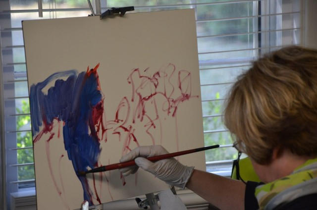 Colors and form that represent words and thoughts that occur in rapid succession, as I paint