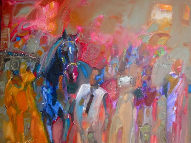 In The Arena : 18″ x 24″ oil demo on panel, by Lesley Humphrey (Copyright 2013) The demo was purchased, as is, by Mrs. P. Fallon (thank you so much.)