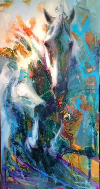"""ESPRIT"" 48 x 24 Oil on canvas by Lesley Humphrey. Copyright 2014."