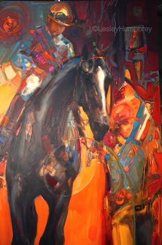 """DARK HORSE 48"""" x 24"""" - oil on panel"""
