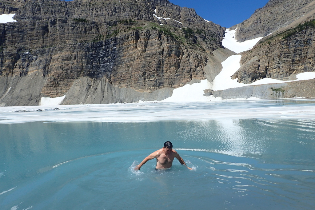 Grinell Glacier Lake.. the water was... chilli. (And yes.. that white stuff on the water behind me are icebergs!)