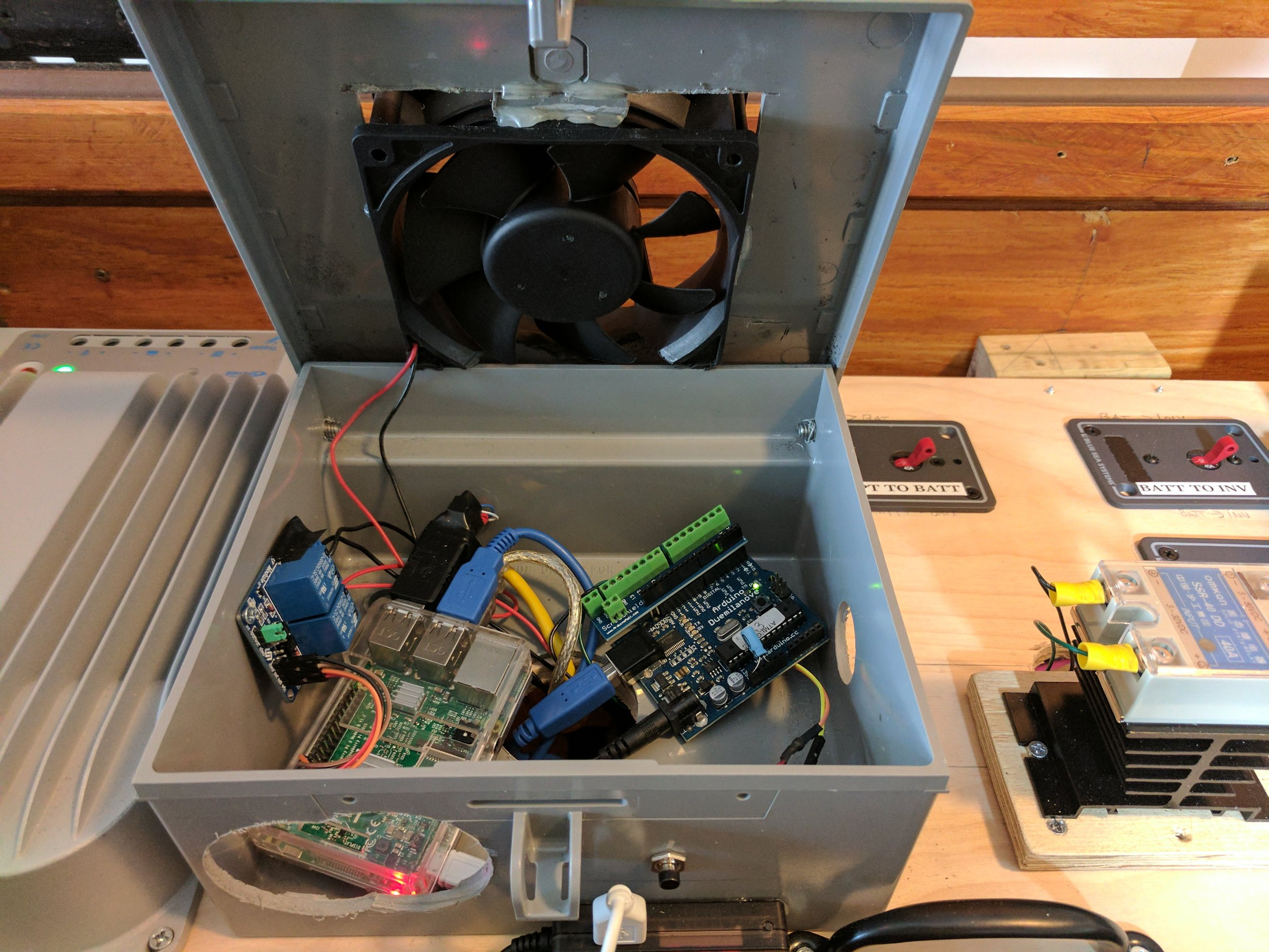 Where the Raspberry Pi and other components reside.