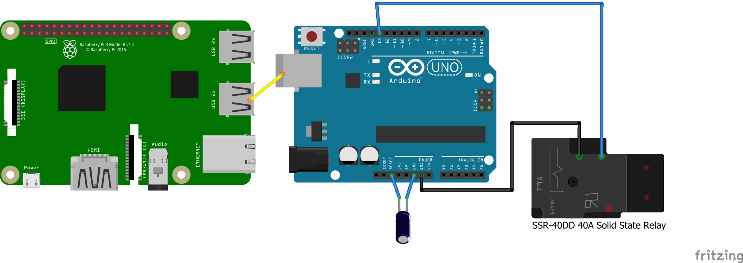 Yellow line signifies the USB connection between the Pi and Arduino. Also note the presence of a 47 micro farad capacitor between the Arduino's reset pin and ground. This is to prevent the Arduino from resetting every time a serial connection is established.