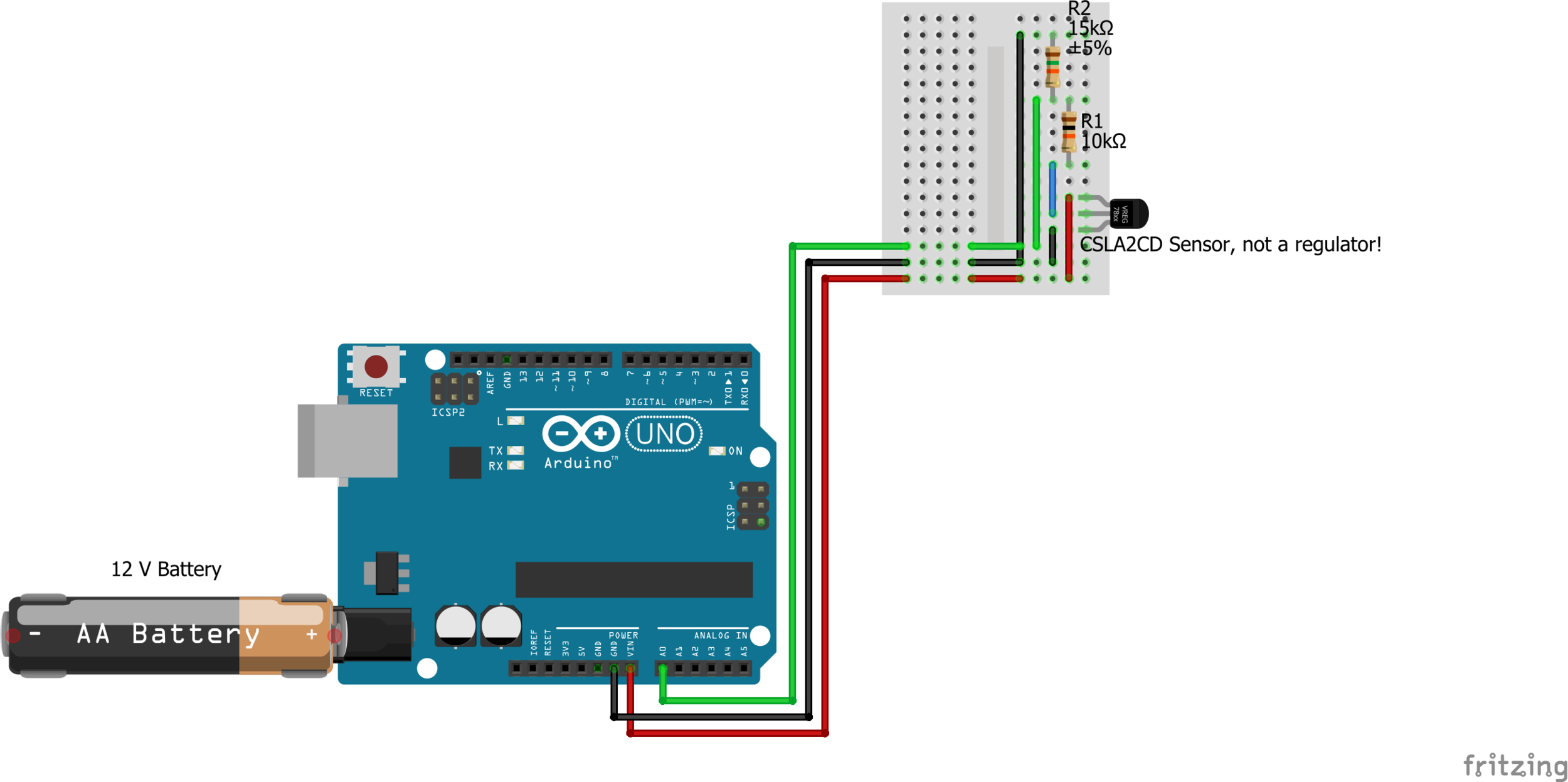 Disregard the AA battery. The Arduino is directly connected to the 12 volt battery.