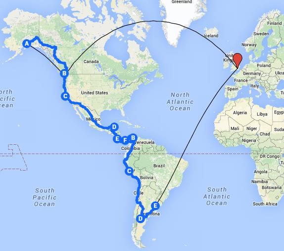 Our planned route from our home in London to Alaska, down to Argentina